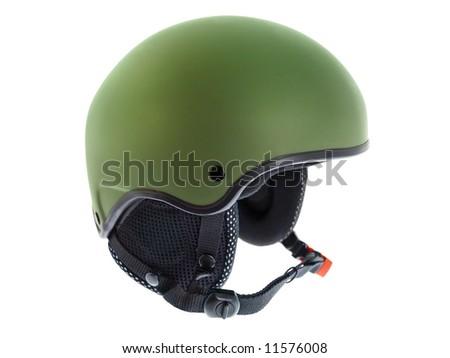 Green Ski Helmet on white. - stock photo