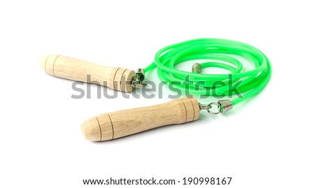 Green skipping rope for an exercise  isolated on white.