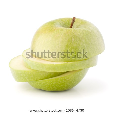 Green sliced apple isolated on white background cutout - stock photo