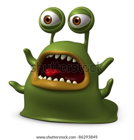 green slug monster - stock photo
