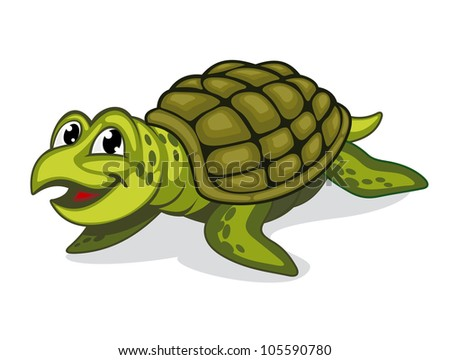 Green smiling turtle reptile in cartoon style, such logo. Vector version also available in gallery - stock photo