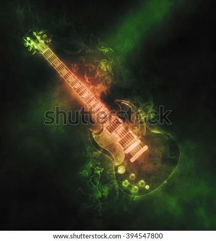 Green smoke hard rock guitar - stock photo