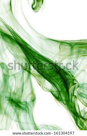 Green smoke in white background