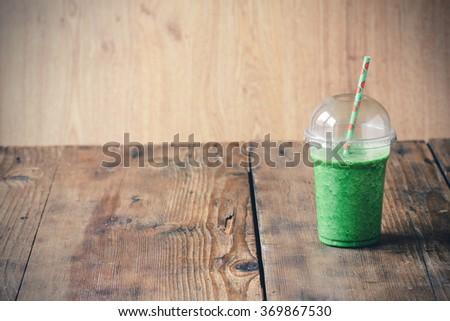 Green smoothie to go - stock photo