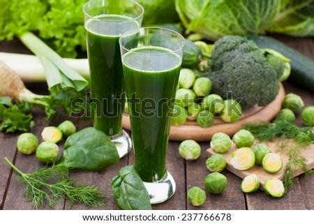 Green smoothie with different vegetables - stock photo