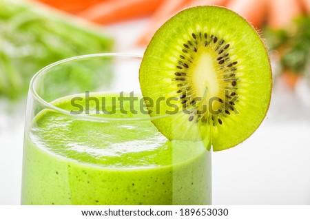 Green smoothie with kiwi - stock photo