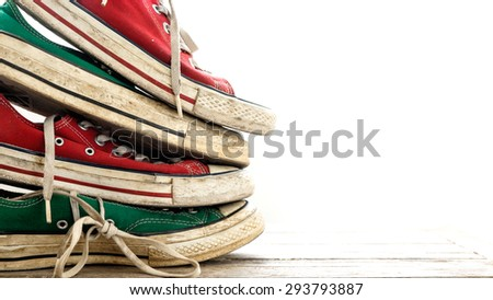 Green Sneakers and Red Sneakers on white background , Lifestyle hipster
