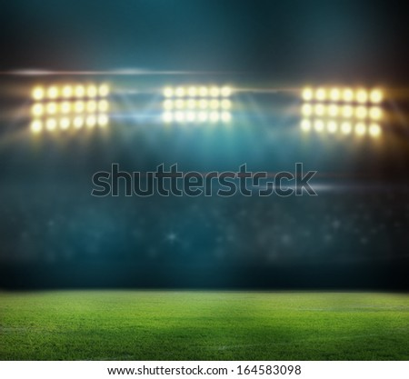 Green soccer field,  - stock photo