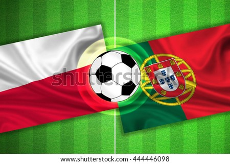 green Soccer / Football field with stripes and flags of poland - portugal, and ball.