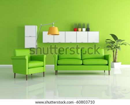 green sofa and armchair in a modern living room - stock photo