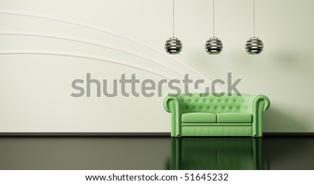 Green sofa in apple-green room with black floor 3d