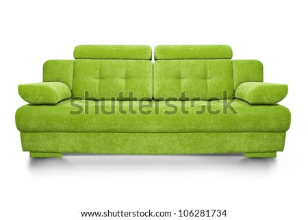 Green sofa isolated on white background, front view. - stock photo