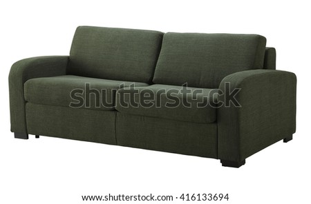 Green sofa isolated on white include clipping path - stock photo