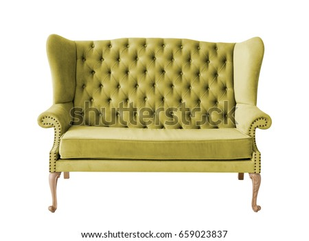 Green soft sofa with fabric upholstery isolated on white