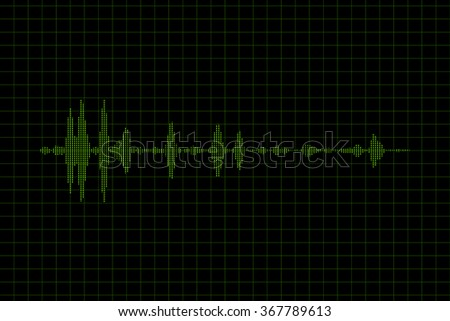 Green sound waves oscillating on black background. High quality render.