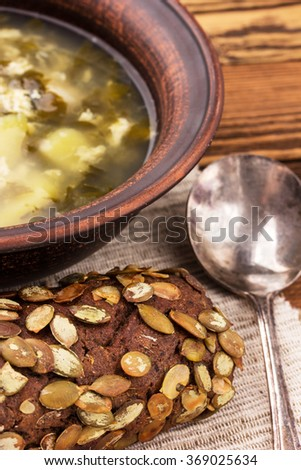 green soup with sorrel - stock photo