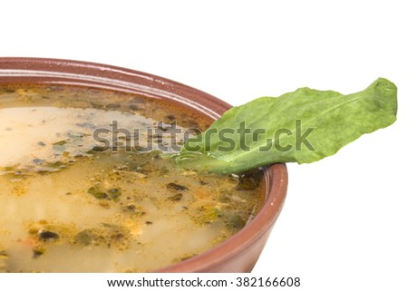 Green soup with sorrel leaf close - stock photo