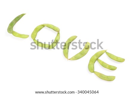 Green soy bean on white background.