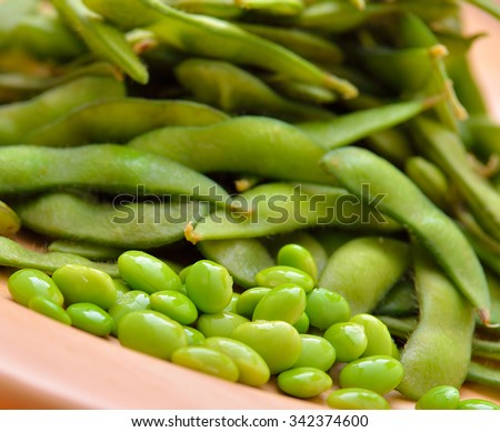 Green soybeans - stock photo