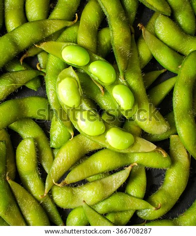 Green soybeans background