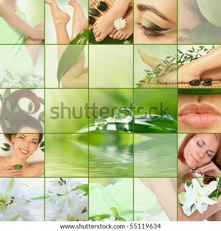 green spa collage - stock photo