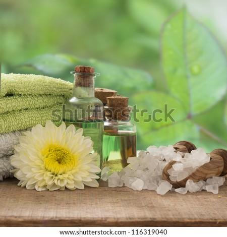 green spa setting - stock photo