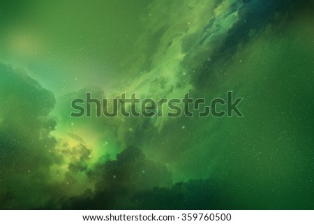 Green space nebula digital illustration - stock photo