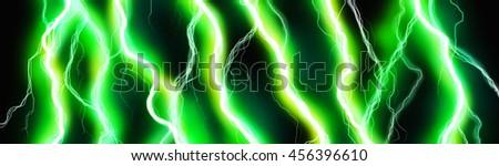 Green sparks of lightning energy background header - stock photo