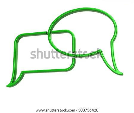 Green speech bubbles icon  - stock photo