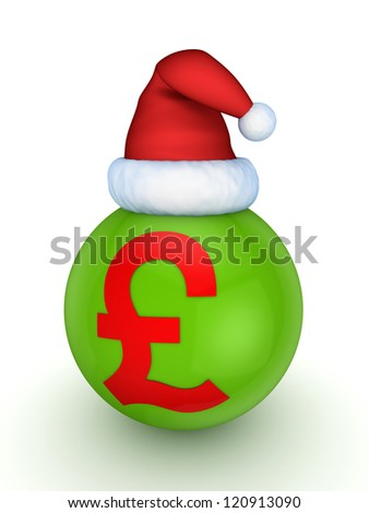 Green sphere with red symbol of pound sterling in a christmas ha