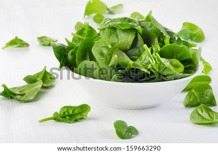 Green spinach leaves . Selective focus