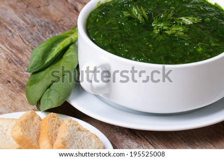 green spinach soup with croutons close up on the table. horizontal   - stock photo