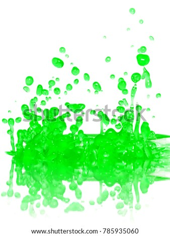 Green splash with reflection