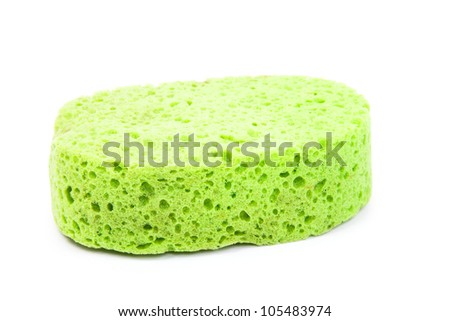 green sponge isolated on a white background - stock photo