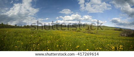Green spring field and blue sky with fluffy clouds- panoramic view - stock photo
