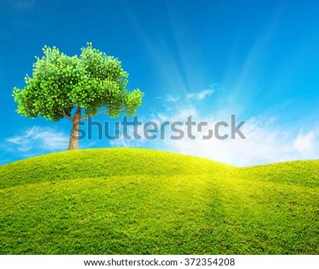 Green spring landscape - stock photo