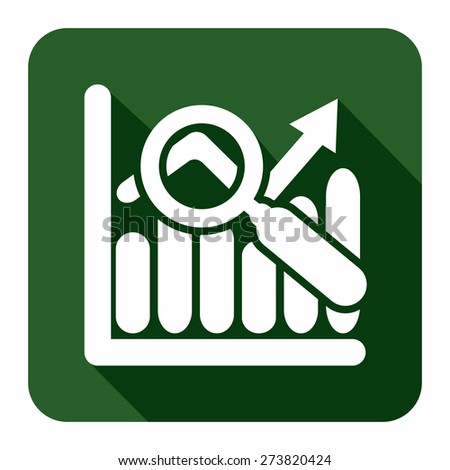 Green Square Business Bar Chart With Rising Arrow Long Shadow Style Icon, Label, Sticker, Sign or Banner Isolated on White Background - stock photo