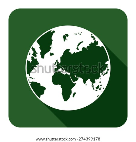 Green Square Earth Planet Flat Long Shadow Style Icon, Label, Sticker, Sign or Banner Isolated on White Background - stock photo