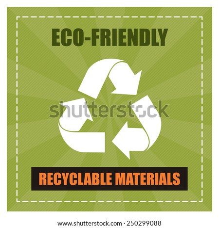 Green Square Eco-Friendly Recyclable Materials Poster, Banner, Sign, Label or Sticker Isolated on White Background  - stock photo