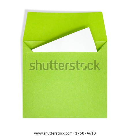 Green square envelopes. A white paper inside on a white background with clipping path. - stock photo