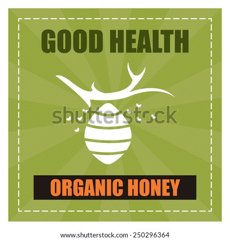 Green Square Good Health Organic Honey Poster, Banner, Label or Sticker Isolated on White Background  - stock photo