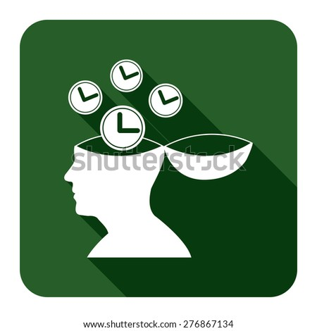 Green Square Head With Clock, Time Saving, Time Management Flat Long Shadow Style Icon, Label, Sticker, Sign or Banner Isolated on White Background - stock photo
