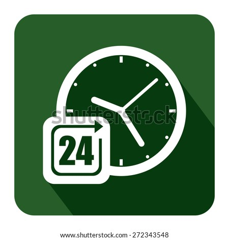 Green Square 24 Hours Service, Open 24 Hours Long Shadow Style Icon, Label, Sticker, Sign or Banner Isolated on White Background - stock photo