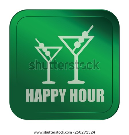 Green Square Metallic Style Happy Hour Sticker, Label, Button or Icon Isolated on White Background  - stock photo