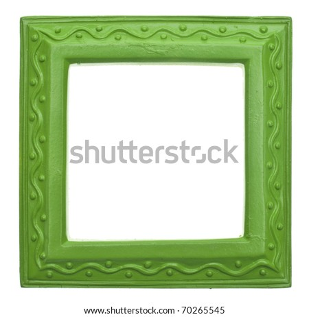 Green Square Modern Vibrant Colored Empty Frame Isolated on White with a Clipping Path. - stock photo