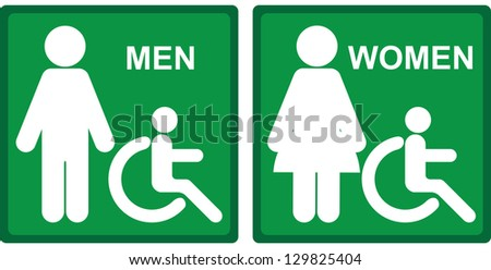 Green Square  Toilet or Restroom With Men, Women and Handicap Sign Isolated on White Background