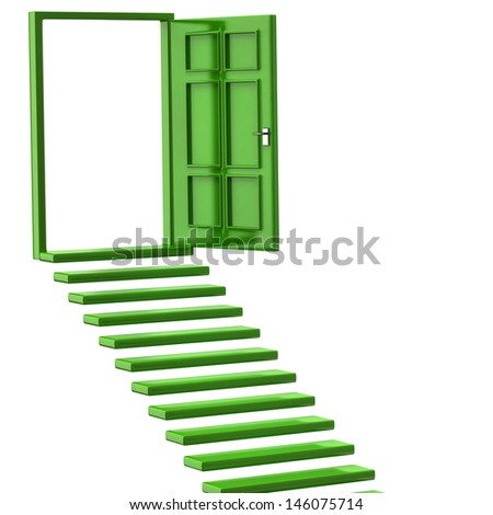 Green stairs and open doors - stock photo