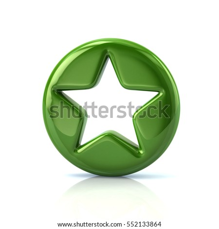 Green star sign button 3d rendering on white background