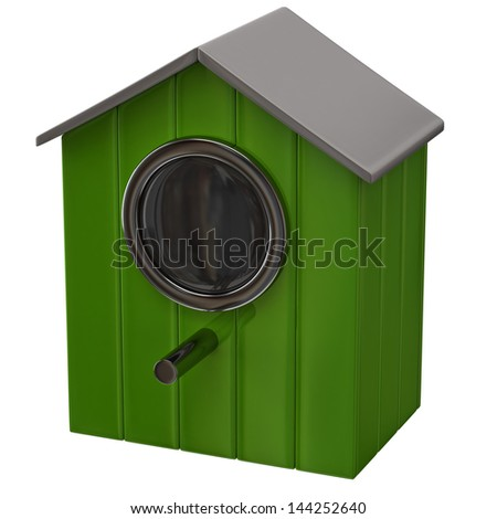 Green starling house icon - stock photo