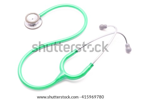 green stethoscope isolated on white background
